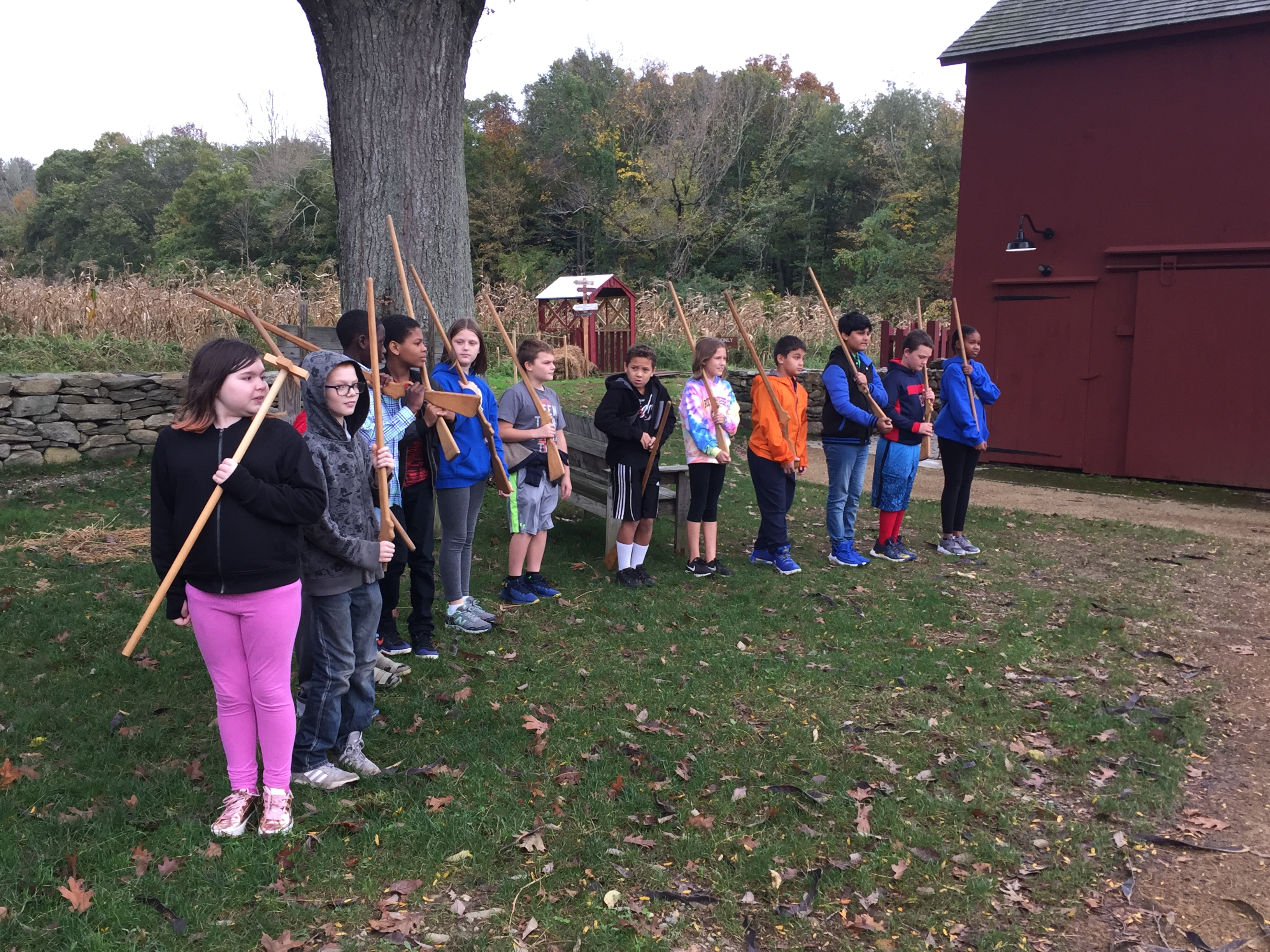 Students mustering at Nathan Hale Homestead.