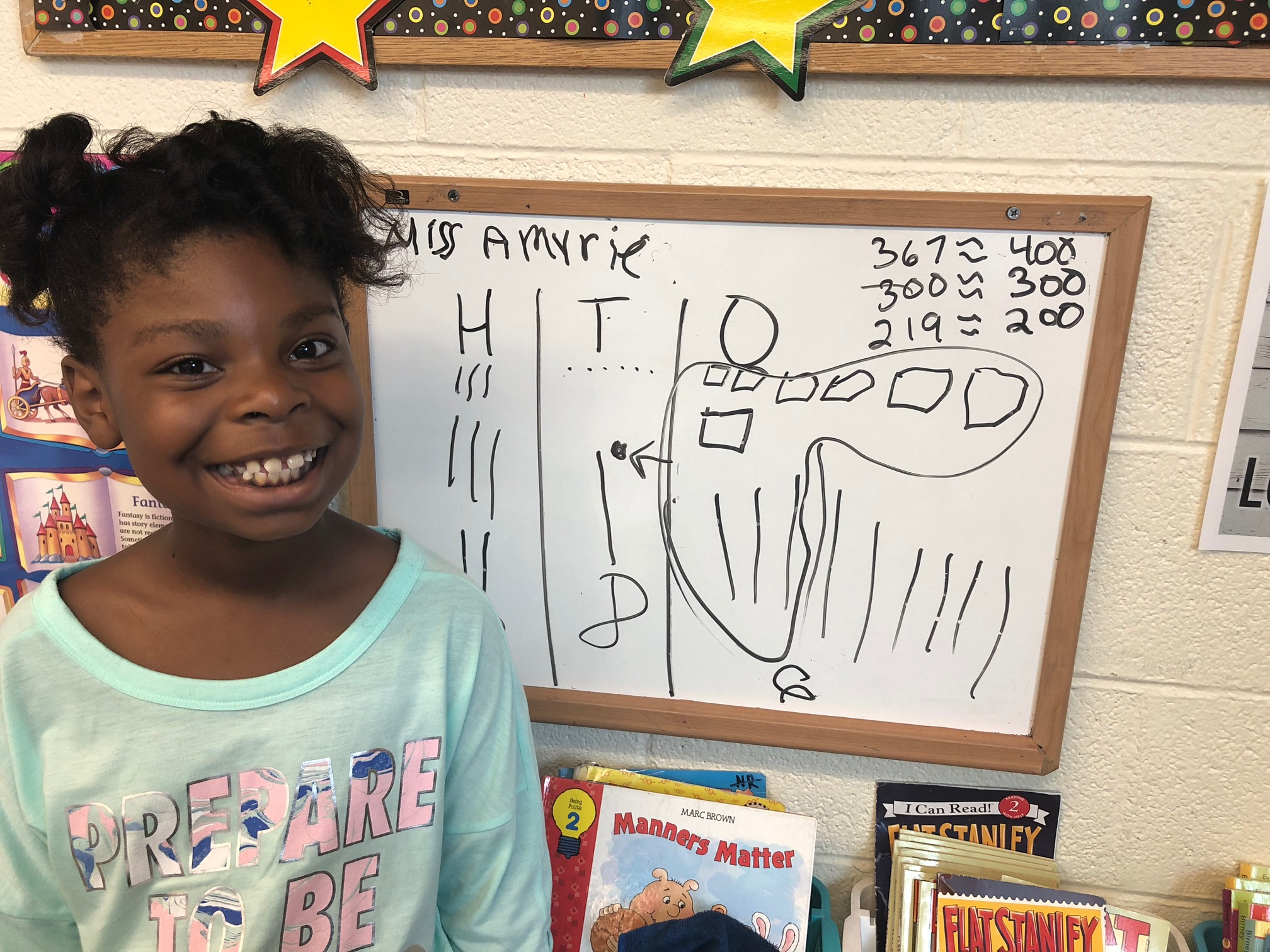 student showing math work
