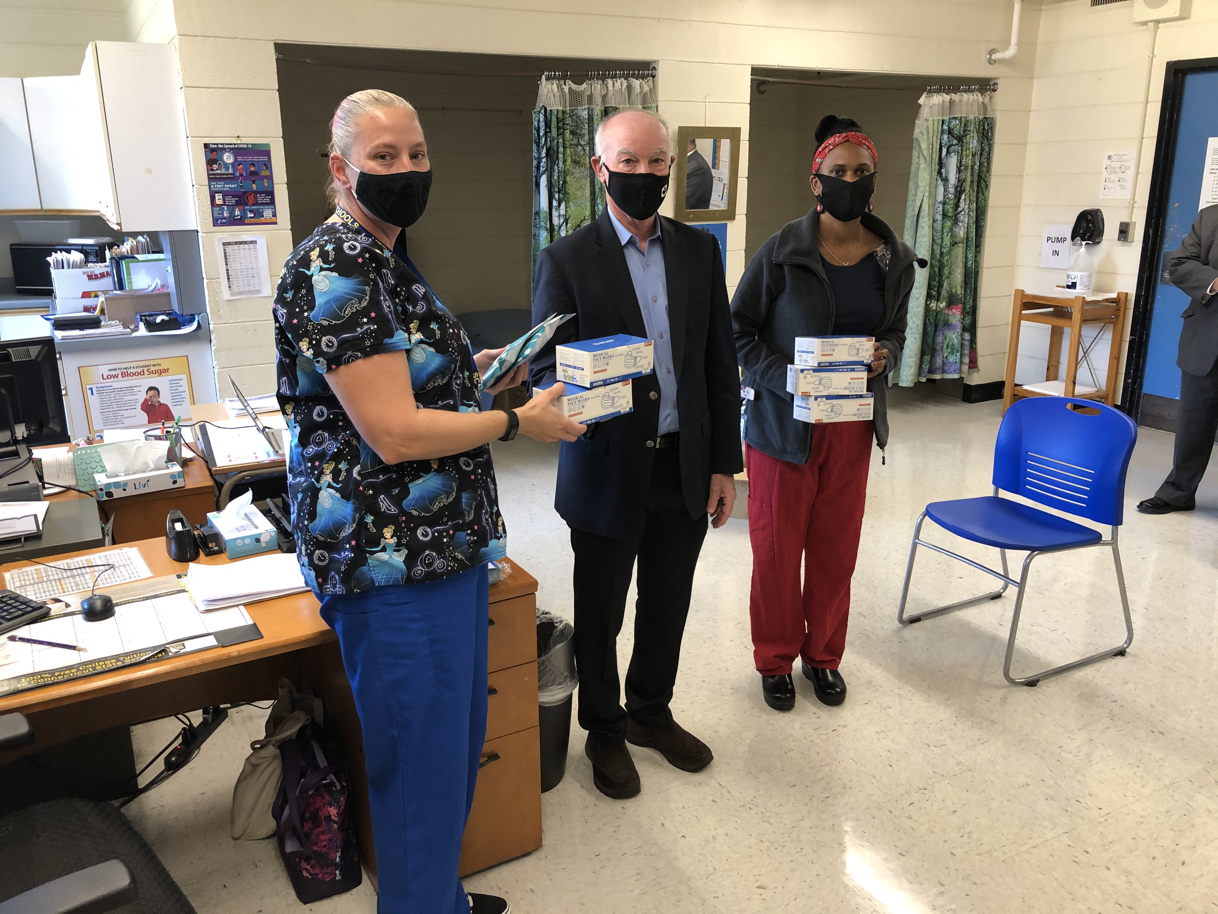 Congressman Joe Courtney visited Rockville High School Thursday to tour the school and deliver face masks to the nurse's office.