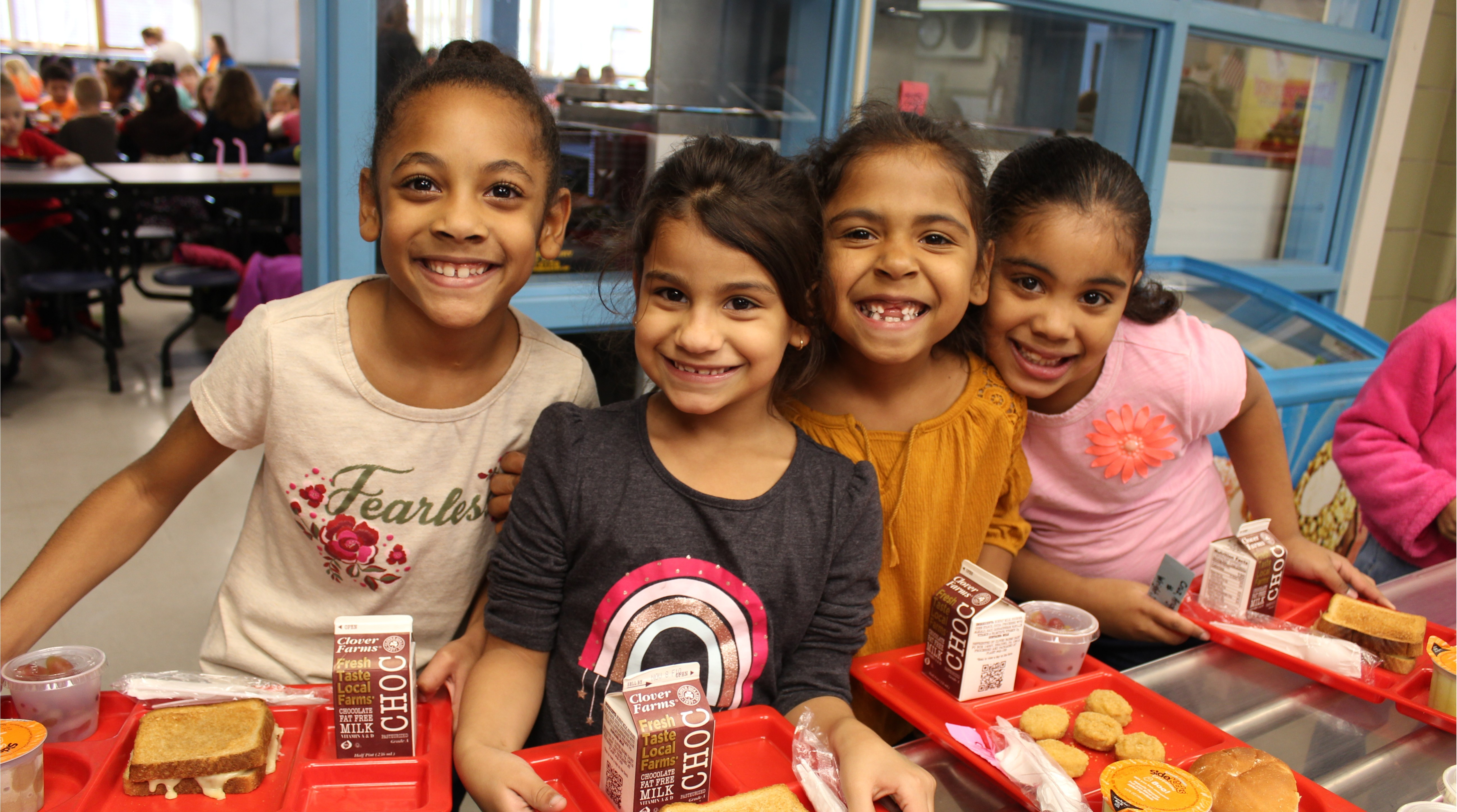 Students at Maple Street School enjoy lunch on halloween